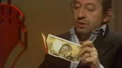 en 1984 sur plateau sur serge gainsbourg brule billet 500 francs